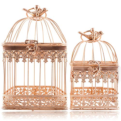LONGBLE 2Pcs Metal Wedding Birdcages Gifts Card Holder Vintage Decorative Gold Hanging Candle Latern Beautiful Wedding Reception Piece Bird Cages for Small Birds Home Decorations Party Accessories