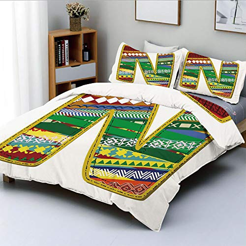 (Duplex Print Duvet Cover Set Full Size,N Letter with Yellow Corners Hippie Primitive Culture Tribal Effect Models My NameDecorative 3 Piece Bedding Set with 2 Pillow Sham,Multicolor,Best Gift For Kids)