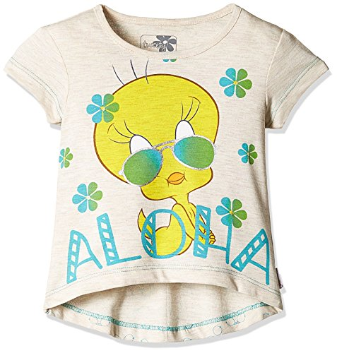 Tweety Girls' T-Shirt (TW0EGT1623_Oatmeal Melange_2 - 3 years)