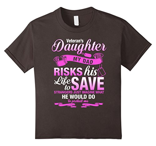 Kids Daughter of A Veteran Shirt Birthday Gift For Girls 6 Asphalt