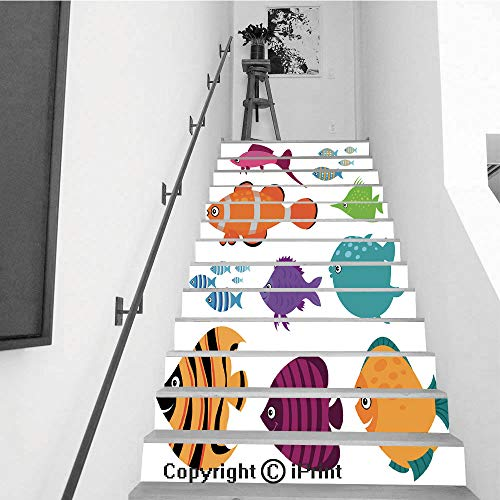 Stair Stickers Wall Stickers,13 PCS Self-Adhesive,Make Your Home Unique,Cute Vector Fish Set Smiling Swimming Aquarium Fishes Illustration