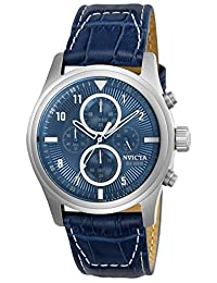 Invicta Men's 'Aviator' Quartz Stainless Steel and Leather Casual Watch, Color:Blue (Model: 22977)
