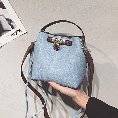 Bolsos de hombro Roscloud ancho Bolsas de cuerpo cruzado de mujer mujer Bolsas de cubo de color de contraste simple Bolsas Crossbody de hombro salvaje (Color : Negro) Azul