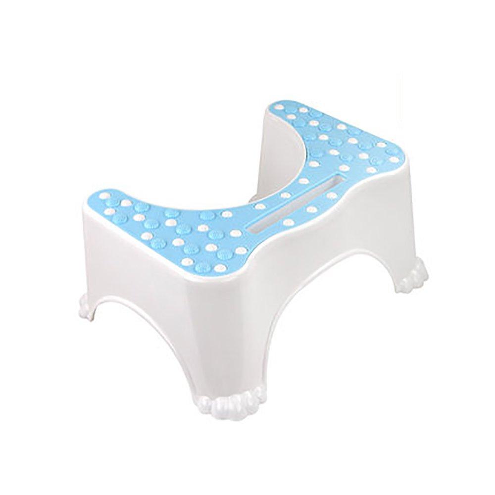 Toilet Stool Thicken Plastic Toilet Ottoman Bathroom Slip Toilet Stool Child Pregnant Woman Toilet Heighten Footstool Pit Footrest Massage Belt Mobile Blue/Pink/Green 4735.522cm (Color : Blue)