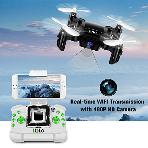 LBLA Mini Foldable Pocket RC Drone, FPV 6-Axis Gyro Altitude Hold RC Quadcopter with HD WiFi Real-time Transmission Camera