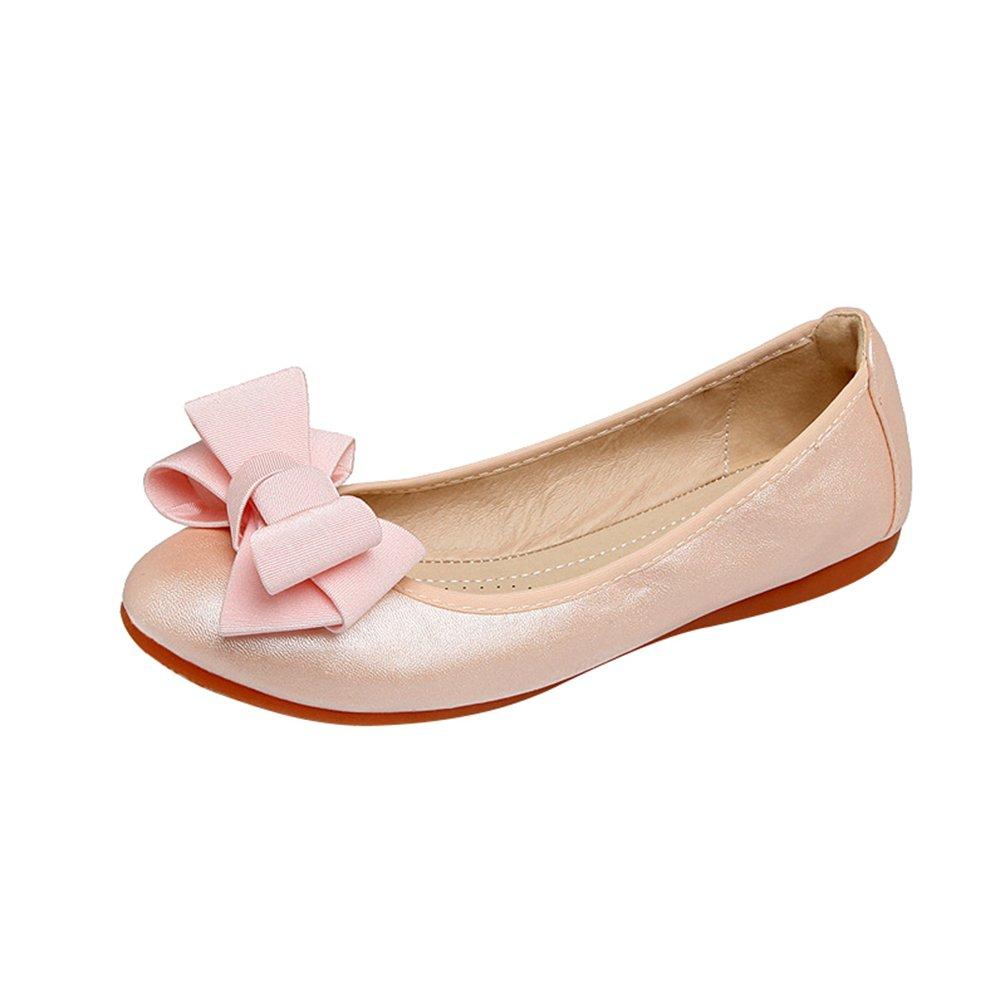 Jitong Slip-on Scarpe da Barca per Donna Tinta Unita Bowknot Mocassini Piatti Comode Loafers rosa
