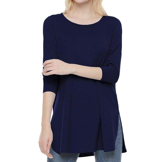 DAYLIN Mujer Casual Blusa Manga Larga Color Sólido Otoño Camisas Camiseta, Negro, Rojo,