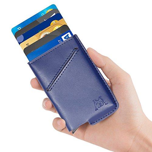 ManChDa RFID Blocking Leather Business Card Holder Credit Card Case Wallet (Black) (Blue)