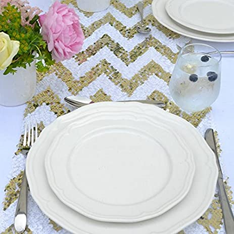 12X72 Inch Gold Chevron Sequin Table Runner  Glitz Sequin Table Overlay For  Wedding/