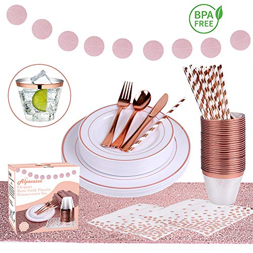Rose Gold Disposable Plastic Dinnerware Set, Fancy & Elegant Plastic Silverware Includes Dinner Plates, Dessert Plates, Cutlery, Cups, Napkins, Straws, Banner & Table Runner, BPA Free Plastic - Cup Set Dessert