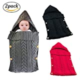 Swaddle Blanket Wrap for Baby Crochet Knitted Newborn Infant Sleep Bag Sack Swaddling Blanket for 0-12 Months Baby Shower Gift (Black&Red)
