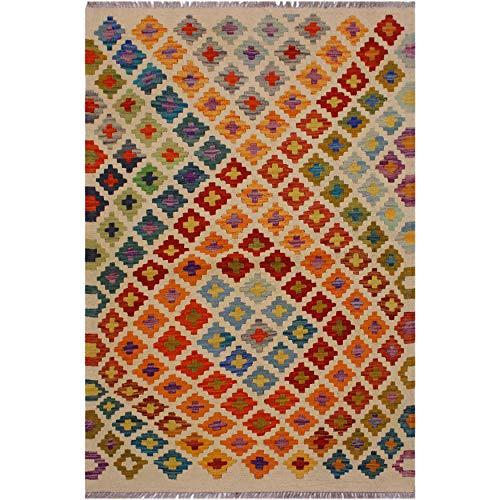 Kilim Annika Ivory/Rust Hand-Woven Wool Rug- 3'5 x 5'2