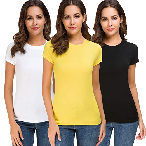 Acacia Flowers Women's Cotton Knitting Casual Short Sleeve Comfy Fitting Summer Tops Crew-Neck Plain Basic Comfort-Soft Tee-Shirt Tight Stretchy Sport Work-Out Dry-Fit Running Multi-Pack T-Shirt