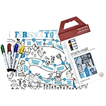 modern-twist Kids Mark-Mat Silicone Coloring Placemat with 8 Dry-Erase Markers, Farm to Table