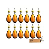 H&D Amber Lamp Teardrop Prisms Chandelier Crystals Hanging Pendants 2inch Pack of 10