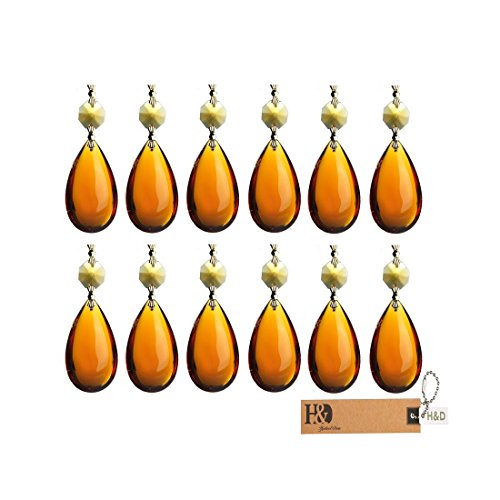 H&D Amber Lamp Teardrop Prisms Chandelier Crystals Hanging Pendants 2inch Pack of 10 by H&D