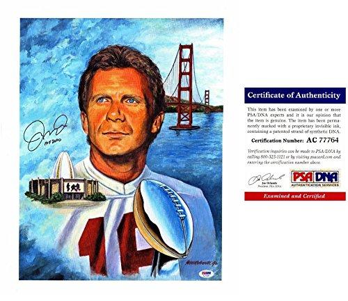 (Joe Montana Signed - Autographed San Francisco 49ers 16x20 Lithograph Photo with 2000 Hall of Fame Inscription - PSA/DNA Certificate of Authenticity (COA))
