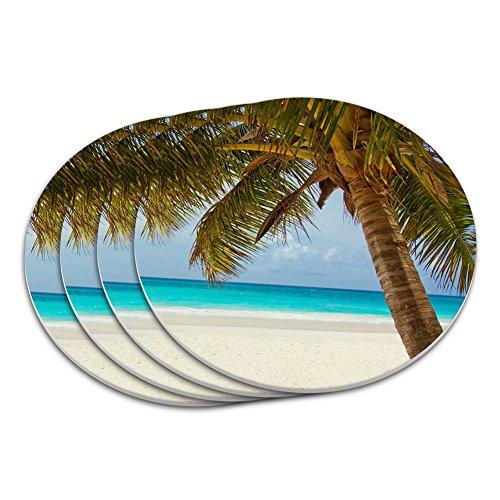 - Tropical Palm Tree Ocean Beach Coaster Set