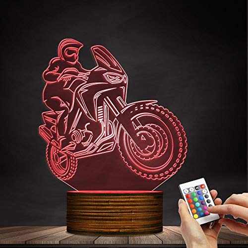 Novelty Lamp, 3D LED Lamp Optical Illusion Motorcyclist Night Light, USB Powered Remote Control Changes The Color of The Light Birthday Gift Decoration Baby Boy Girl Child,Ambient Light by LIX-XYD (Image #3)