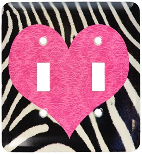 - 3dRose LLC lsp_20393_2 Punk Rockabilly Zebra Animal Stripe with Pink Heart Print Double Toggle Switch