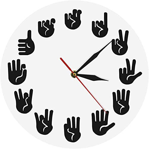 VAWAA American Sign Language Wall Clock ASL Gesture Modern Clock Watch Equivalents of The Hours Made Exclusively