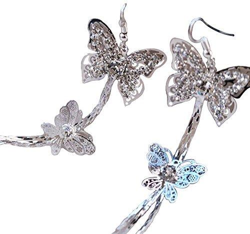 Double Layers Butterfly Rhinestone Long Tassels Hook Linear Earrings Women's New by Fashion Brand (Earrings Rhinestone Butterfly)