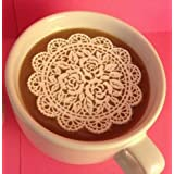 Rose Flower 25 PC Edible Lace Large Scallop Rose Doily - Cupcake, Cake, Cookie, Petite Four, Coffee, Tea, or any Dessert