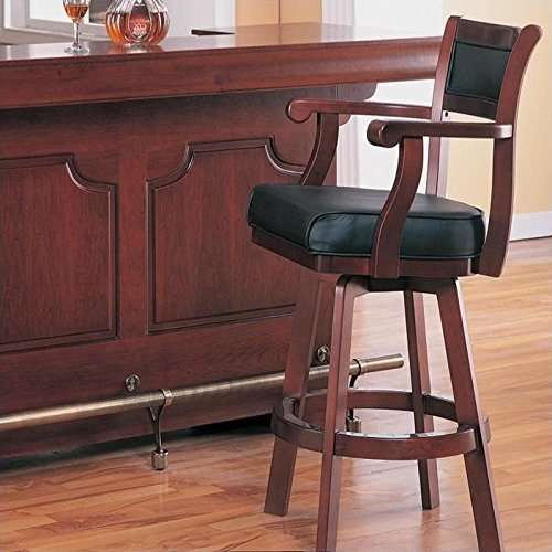 Coaster Bar Stool Chair with Swivel Black Leather Seat and Back, Cherry Finish