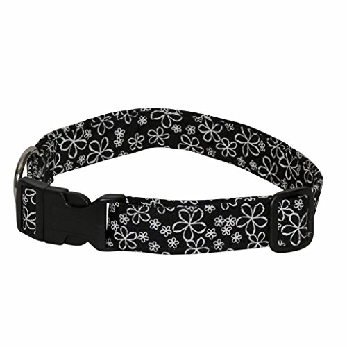 Etched Daisy - Etched Daisies 100% Cotton Adjustable Dog Collar - Extra Small (Black and White Floral - 5-9