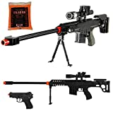 (US) 82A1-P1082 Airsoft Sniper Rifle and MINI 82A1-P2082 Airsoft Sniper Rifle w/ 1000 BBS & FREE Pistol (P1082 & P2082)