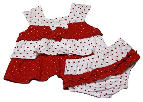Absorba Baby-Girls Newborn Print Two Piece Short Set, Red/White, 3-6 Months ()