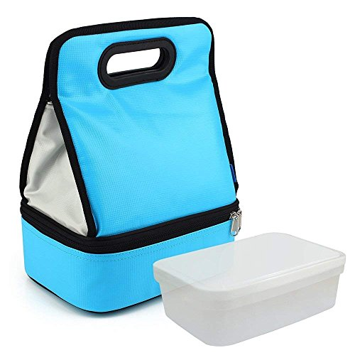 Expandable Lunch Bag Double Layer Cooler Tote Bag for Adult Women and Men - Idea for Beach, Picnics, Road Trip, Meal Prep, Everyday Lunch to Work or School, Ice Blue by yodo (Image #1)