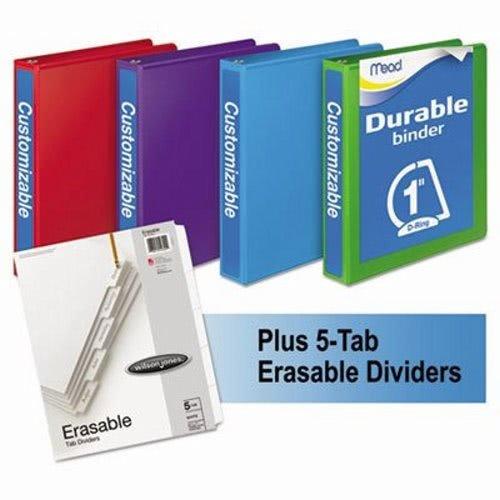 Mead 66514AU Durable D-Ring View Binder Plus Pack, 1'' Cap, Assorted Colors, 4/Carton