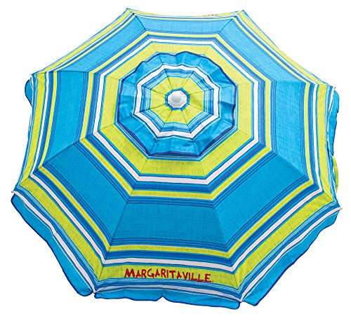Margaritaville 6-Foot UPF 50+ Beach Umbrella with Built-in Sand Anchor, 6', Blue Green Stripe