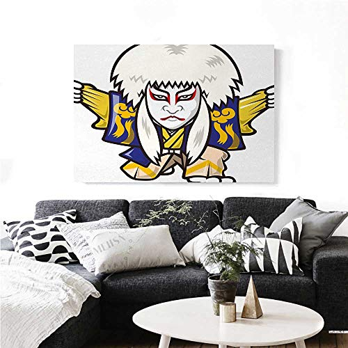 homehot Kabuki Mask Canvas Wall Art for Bedroom Home Decorations Character with Kimono Costume Orient Elements Edo Era Arts Theater Play Print Art Stickers 48