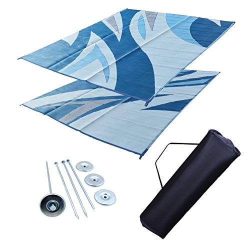 (RV Patio Mat RV Awning Mat Leisure Mat Camping Mat Outdoor Mat Ocean Blue Wave 9x12)