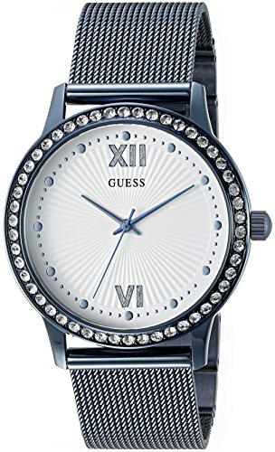 GUESS Women's U0766L4 Dressy Blue Watch with White Dial , Crystal-Accented Bezel and Mesh G-Link ()