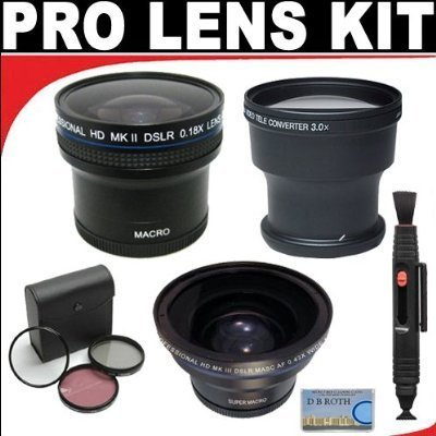 .21x HD Professional Super Wide Angle Panoramic Macro Fisheye Lens + 3x Digital Telephoto Professional Series Lens + 0.43X Digital Super Wide Angle Macro Professional Series Lens + 3 Piece Filter Kit + Lenspen Cleaning System For The Canon VIXIA HF G20, H