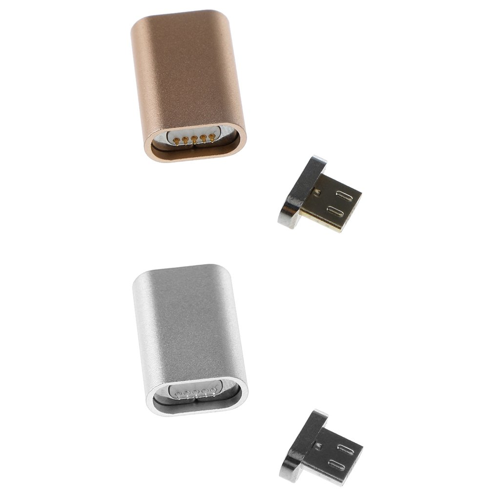 Homyl Pack of 2 Mini Magnetic Micro USB Charger Adapter Converter for Android Samsung Phone PC Gold+Silver 37b1aaba35930036b306dacc8e4829c1