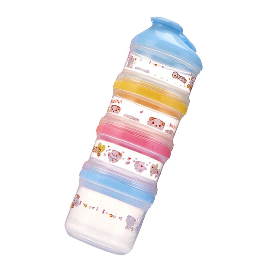 D DOLITY Boite de Lait en Poudre Bébé Doseuse 4 Compartiments en PP de Qualité Alimentaire Coloré - Bleu