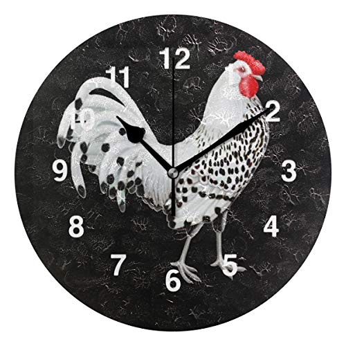 (Jojogood Rooster Wall Clock Silent Non Ticking Clock,Battery-Powered with Quartz Movement for Living Room Bedroom Home Decoration)
