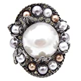 CINDY XIANG Pearl Round Style Baroque Brooches Women Vintage Coat Pins Corsage 2018