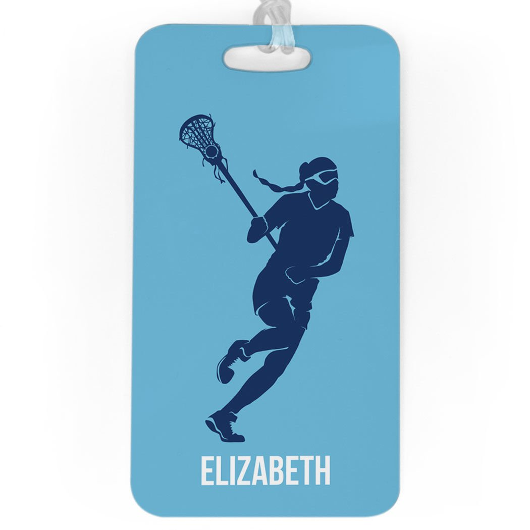 Girls Lacrosse Luggage & Bag Tag | Personalized Lax Player | Standard Lines on Back | LARGE | CAROLINA/NAVY