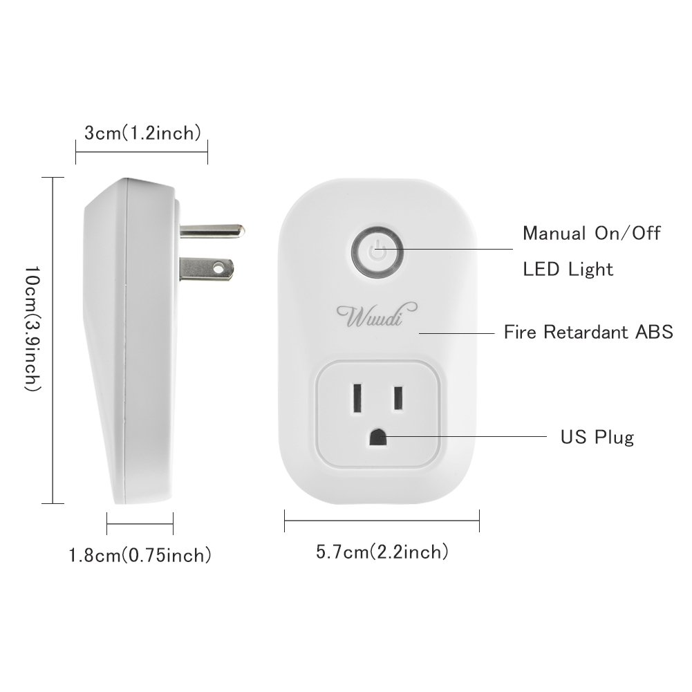 Wifi Smart Plug Wuudi Wireless Outlet No Hub Required Smart Timing Socket, Wireless Remote Control Your Devices Work with Alexa (2 Packs) by Wuudi (Image #3)