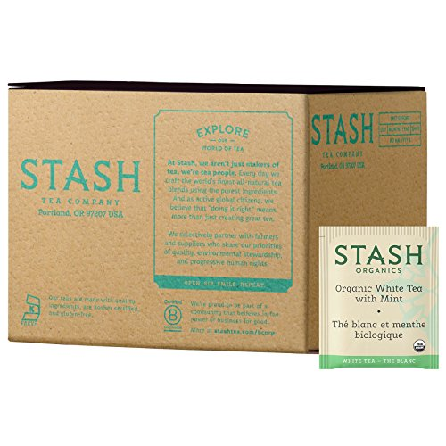 Stash Tea Organic Tea Bags in Foil White Tea with Mint 100 Count (packaging may vary) Individual Organic White Tea Bags for Use in Teapots Mugs or Cups, Brew Hot - Tea Organic White Peppermint