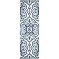 Maples Rugs Runner Rug - Vivian 2 x 6 Non Skid Hallway Carpet Entry Rugs Runners [Made in USA] for Kitchen and Entryway, 2 x 6, Blue