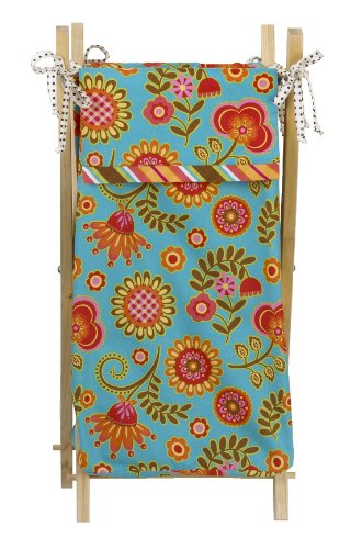 100% Cotton Cotton Tale Designs Gypsy Hamper in Multi Color Floral with Striped Trim & Polka Dot Ties on a Natural Sturdy Wooden Hamper Frame- Also Available on White & ()