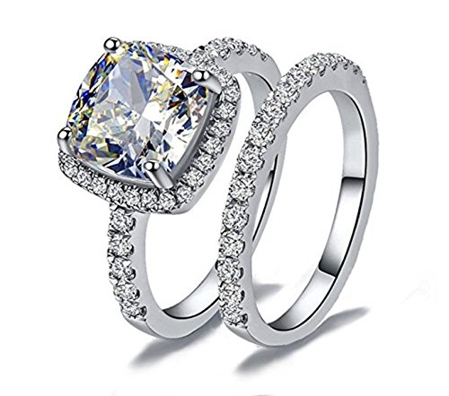 Venetia Top Grade Supreme Princess Cushion Cut 2.0 Carats NSCD Simulated Diamond Ring Band 2 Pcs Set Platinum Plated 925 Silver Realistic White Fire Sparkles swarovski cubic zirconia cz crystal (5.5)