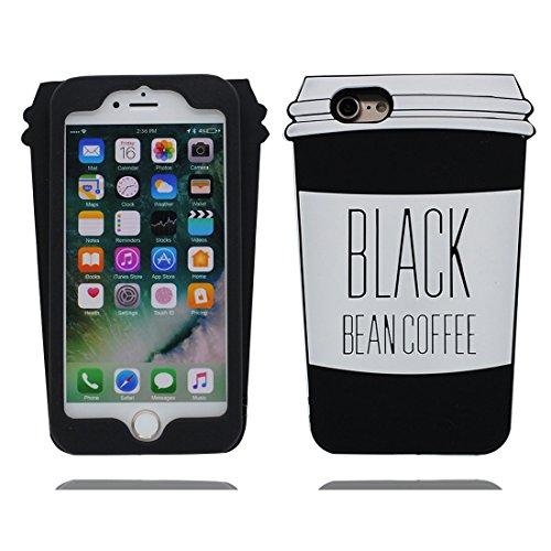 iPhone 6 Copertura,iPhone 6S Custodia,3D Cartoon tazza di caffè Pelle morbida in gomma siliconica per la copertura posteriore della copertina Case cover per iPhone 6 / 6S 4.7inch,nero