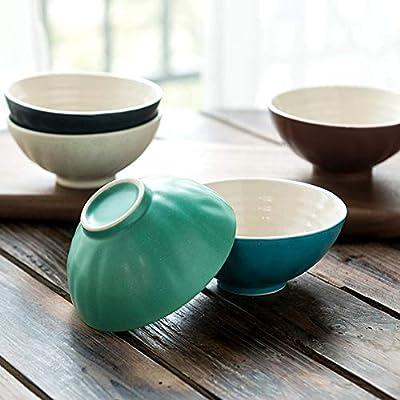 Vajilla vajilla de cerámica vajilla doméstica japonesa set 4.5 pulgadas plato de arroz Nordic serie de impresión cinco Pack: Amazon.es: Hogar